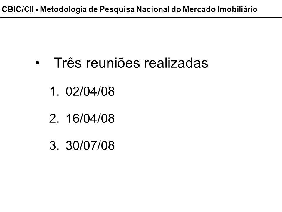 Três reuniões realizadas 1.02/04/08 2.16/04/08 3.30/07/08 CBIC/CII - Metodologia de Pesquisa Nacional do Mercado Imobiliário