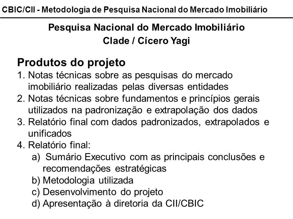 CBIC/CII - Metodologia de Pesquisa Nacional do Mercado Imobiliário Pesquisa Nacional do Mercado Imobiliário Clade / Cícero Yagi Produtos do projeto 1.
