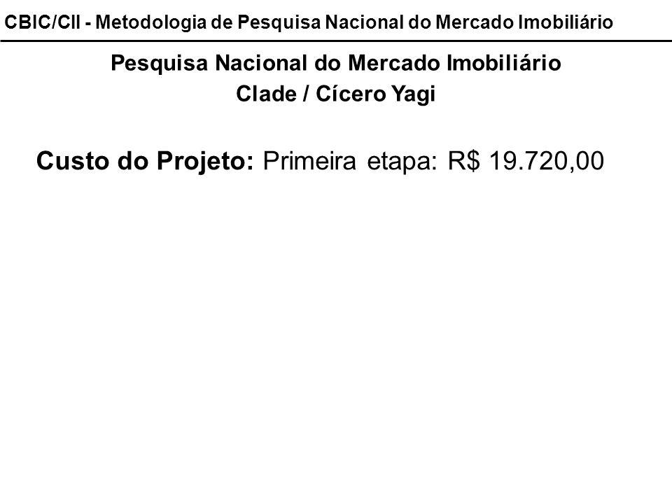 Pesquisa Nacional do Mercado Imobiliário Clade / Cícero Yagi Custo do Projeto: Primeira etapa: R$ 19.720,00