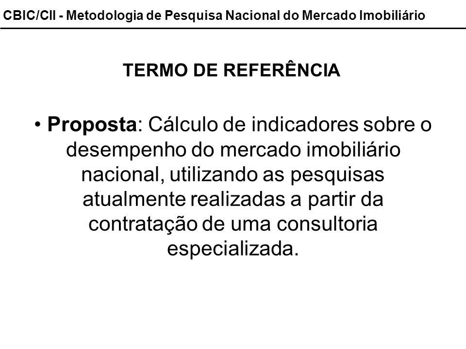CBIC/CII - Metodologia de Pesquisa Nacional do Mercado Imobiliário TERMO DE REFERÊNCIA Proposta: Cálculo de indicadores sobre o desempenho do mercado