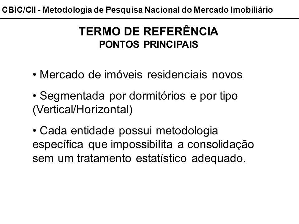 CBIC/CII - Metodologia de Pesquisa Nacional do Mercado Imobiliário TERMO DE REFERÊNCIA PONTOS PRINCIPAIS Mercado de imóveis residenciais novos Segment