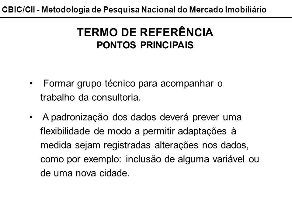 CBIC/CII - Metodologia de Pesquisa Nacional do Mercado Imobiliário TERMO DE REFERÊNCIA PONTOS PRINCIPAIS Formar grupo técnico para acompanhar o trabal