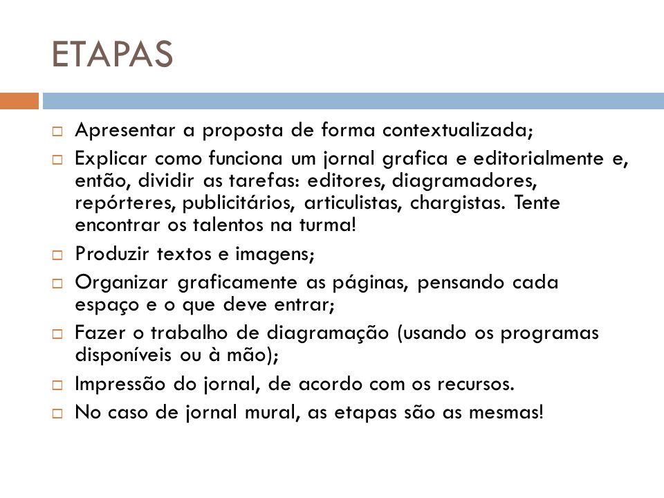 ETAPAS Apresentar a proposta de forma contextualizada; Explicar como funciona um jornal grafica e editorialmente e, então, dividir as tarefas: editore