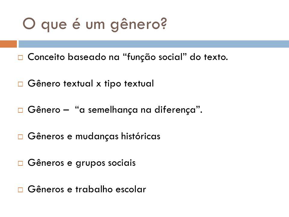 O que é um gênero? Conceito baseado na função social do texto. Gênero textual x tipo textual Gênero – a semelhança na diferença. Gêneros e mudanças hi