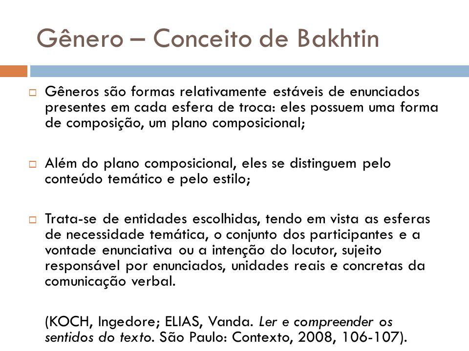 Gênero – Conceito de Bakhtin Gêneros são formas relativamente estáveis de enunciados presentes em cada esfera de troca: eles possuem uma forma de comp