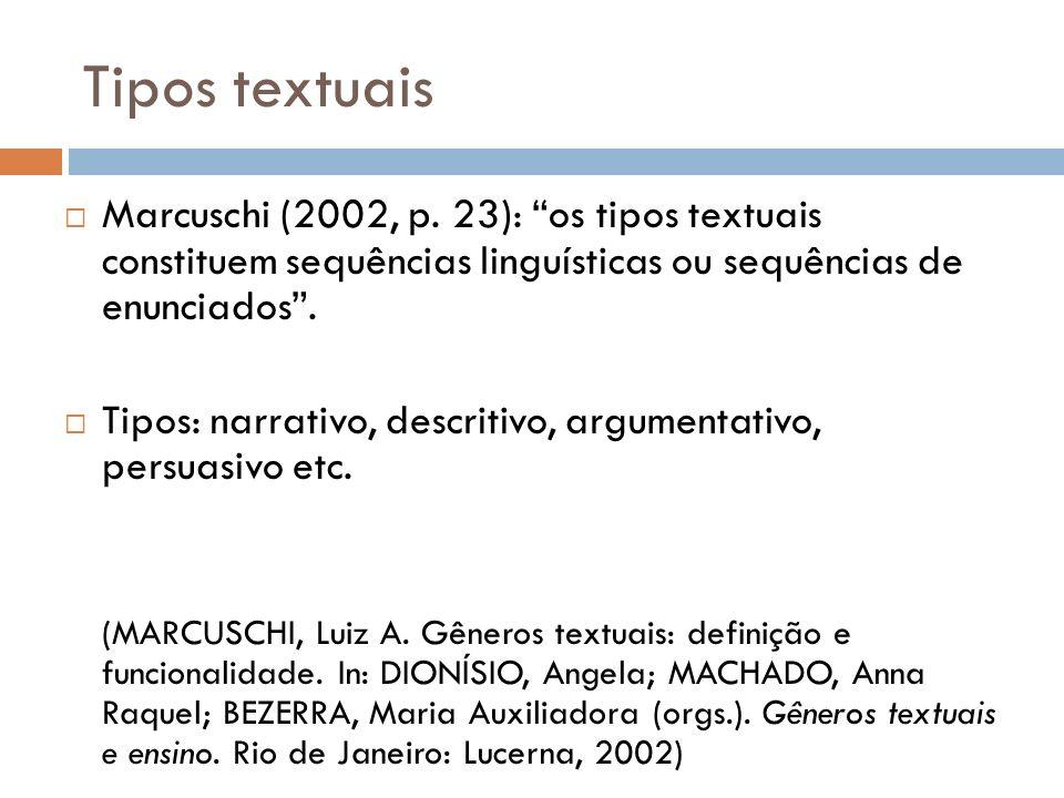 Tipos textuais Marcuschi (2002, p. 23): os tipos textuais constituem sequências linguísticas ou sequências de enunciados. Tipos: narrativo, descritivo