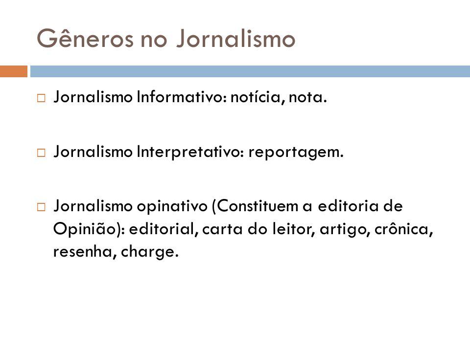 Gêneros no Jornalismo Jornalismo Informativo: notícia, nota. Jornalismo Interpretativo: reportagem. Jornalismo opinativo (Constituem a editoria de Opi