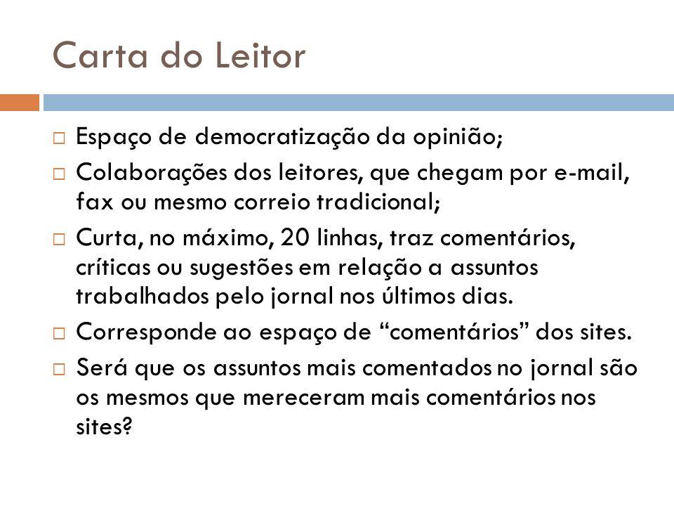 Carta do Leitor Espaço de democratização da opinião; Colaborações dos leitores, que chegam por e-mail, fax ou mesmo correio tradicional; Curta, no máx