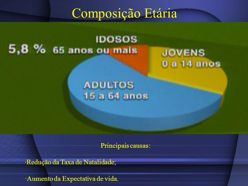 Composição Etária Principais causas: Redução da Taxa de Natalidade; Aumento da Expectativa de vida.