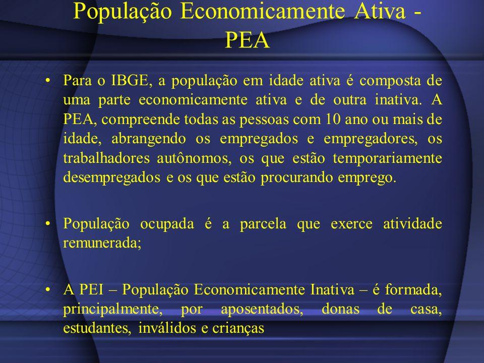 População Economicamente Ativa - PEA Para o IBGE, a população em idade ativa é composta de uma parte economicamente ativa e de outra inativa. A PEA, c