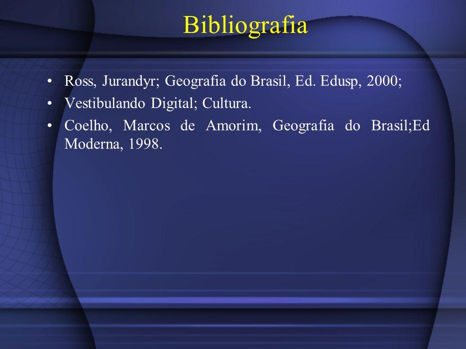 Bibliografia Ross, Jurandyr; Geografia do Brasil, Ed. Edusp, 2000; Vestibulando Digital; Cultura. Coelho, Marcos de Amorim, Geografia do Brasil;Ed Mod