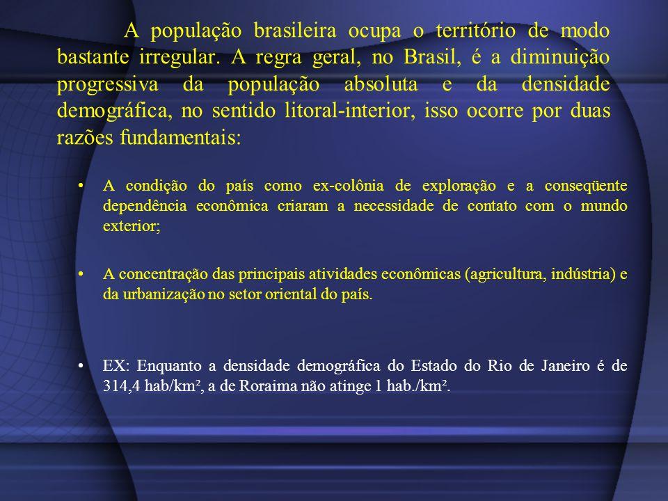 A população brasileira ocupa o território de modo bastante irregular. A regra geral, no Brasil, é a diminuição progressiva da população absoluta e da