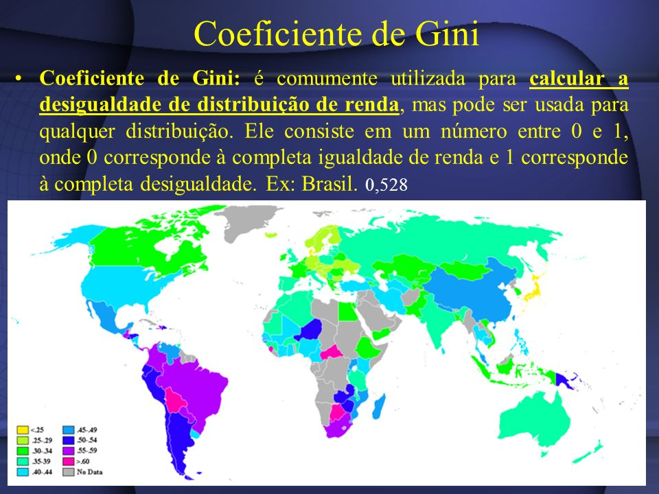 Coeficiente de Gini Coeficiente de Gini: é comumente utilizada para calcular a desigualdade de distribuição de renda, mas pode ser usada para qualquer distribuição.