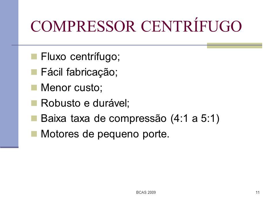 BCAS 200911 COMPRESSOR CENTRÍFUGO Fluxo centrífugo; Fácil fabricação; Menor custo; Robusto e durável; Baixa taxa de compressão (4:1 a 5:1) Motores de