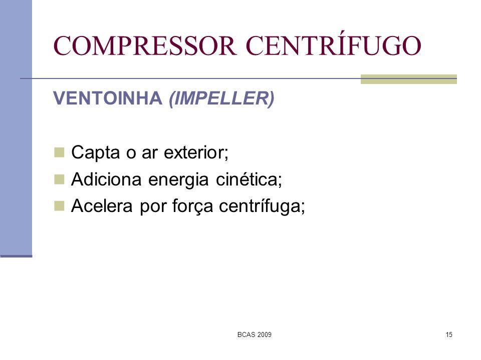 BCAS 200915 COMPRESSOR CENTRÍFUGO VENTOINHA (IMPELLER) Capta o ar exterior; Adiciona energia cinética; Acelera por força centrífuga;