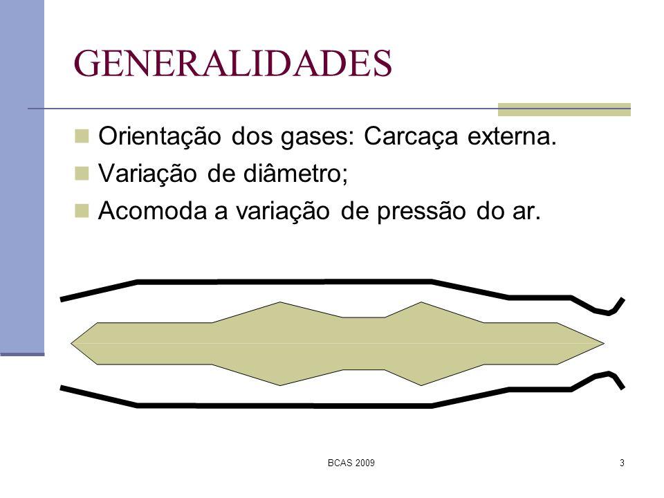 BCAS 20093 GENERALIDADES Orientação dos gases: Carcaça externa. Variação de diâmetro; Acomoda a variação de pressão do ar.