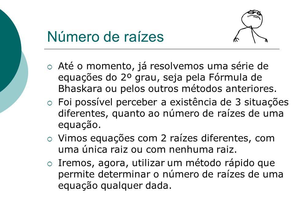 Número de raízes Até o momento, já resolvemos uma série de equações do 2º grau, seja pela Fórmula de Bhaskara ou pelos outros métodos anteriores. Foi