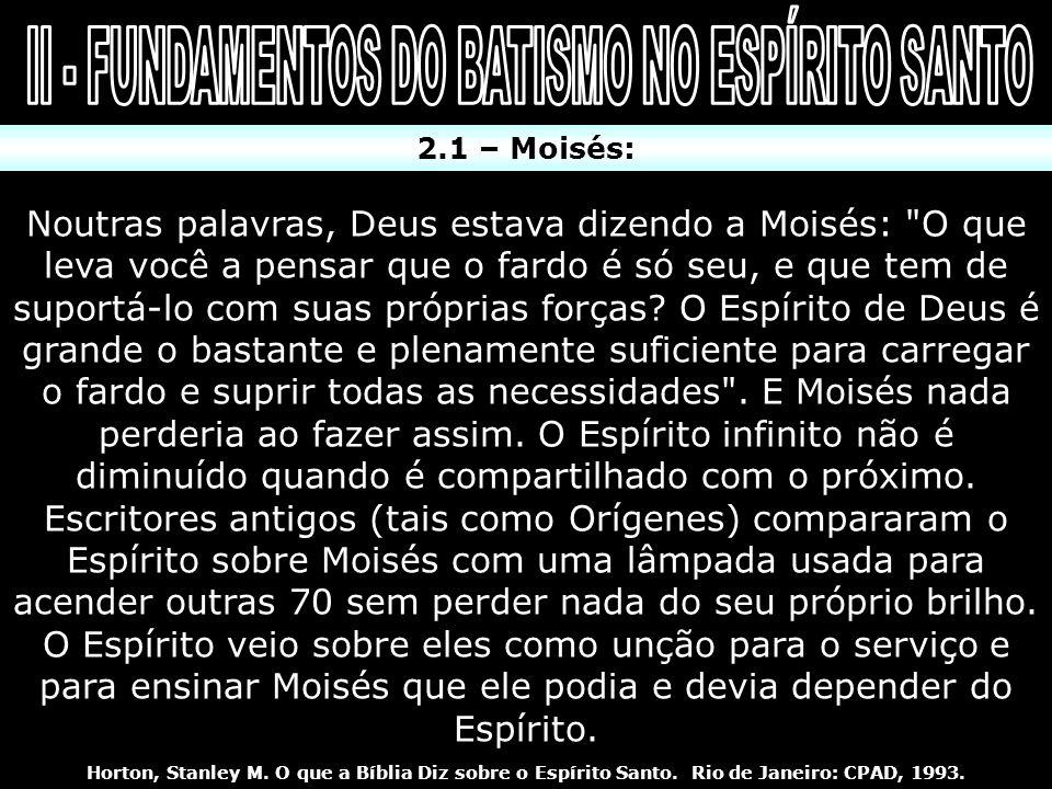 2.1 – Moisés: Noutras palavras, Deus estava dizendo a Moisés: