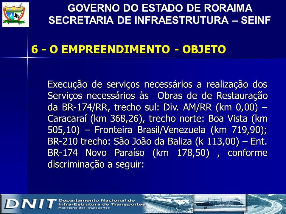 GOVERNO DO ESTADO DE RORAIMA SECRETARIA DE INFRAESTRUTURA – SEINF 6 - O EMPREENDIMENTO - OBJETO Execução de serviços necessários a realização dos Serv