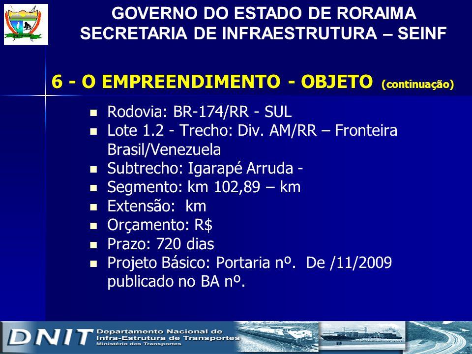 GOVERNO DO ESTADO DE RORAIMA SECRETARIA DE INFRAESTRUTURA – SEINF Rodovia: BR-174/RR - SUL Lote 1.2 - Trecho: Div. AM/RR – Fronteira Brasil/Venezuela