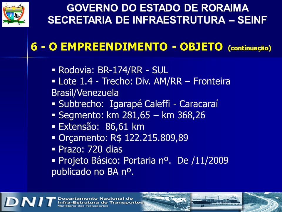 GOVERNO DO ESTADO DE RORAIMA SECRETARIA DE INFRAESTRUTURA – SEINF Rodovia: BR-174/RR - SUL Lote 1.4 - Trecho: Div. AM/RR – Fronteira Brasil/Venezuela