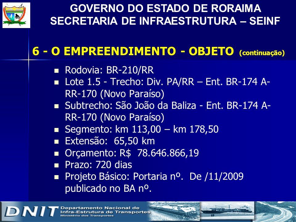 GOVERNO DO ESTADO DE RORAIMA SECRETARIA DE INFRAESTRUTURA – SEINF Rodovia: BR-210/RR Lote 1.5 - Trecho: Div. PA/RR – Ent. BR-174 A- RR-170 (Novo Paraí