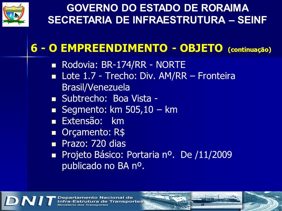 GOVERNO DO ESTADO DE RORAIMA SECRETARIA DE INFRAESTRUTURA – SEINF Rodovia: BR-174/RR - NORTE Lote 1.7 - Trecho: Div. AM/RR – Fronteira Brasil/Venezuel