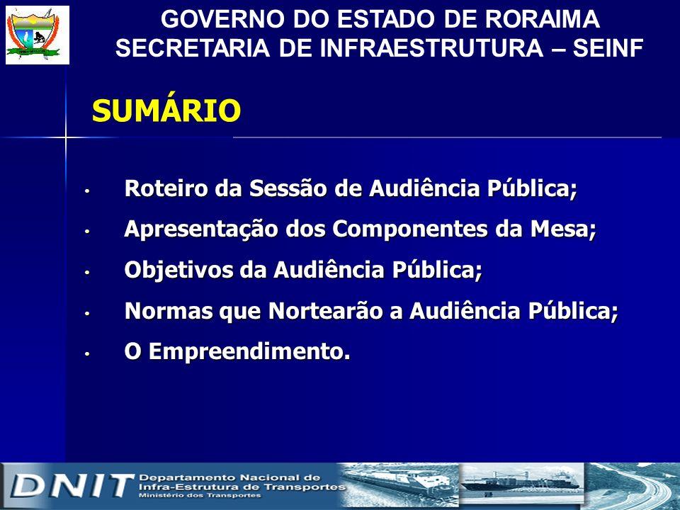 GOVERNO DO ESTADO DE RORAIMA SECRETARIA DE INFRAESTRUTURA – SEINF SUMÁRIO Roteiro da Sessão de Audiência Pública; Roteiro da Sessão de Audiência Públi