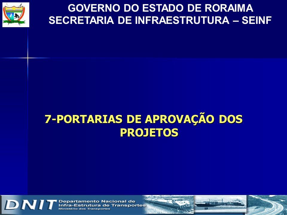 GOVERNO DO ESTADO DE RORAIMA SECRETARIA DE INFRAESTRUTURA – SEINF 7-PORTARIAS DE APROVAÇÃO DOS PROJETOS