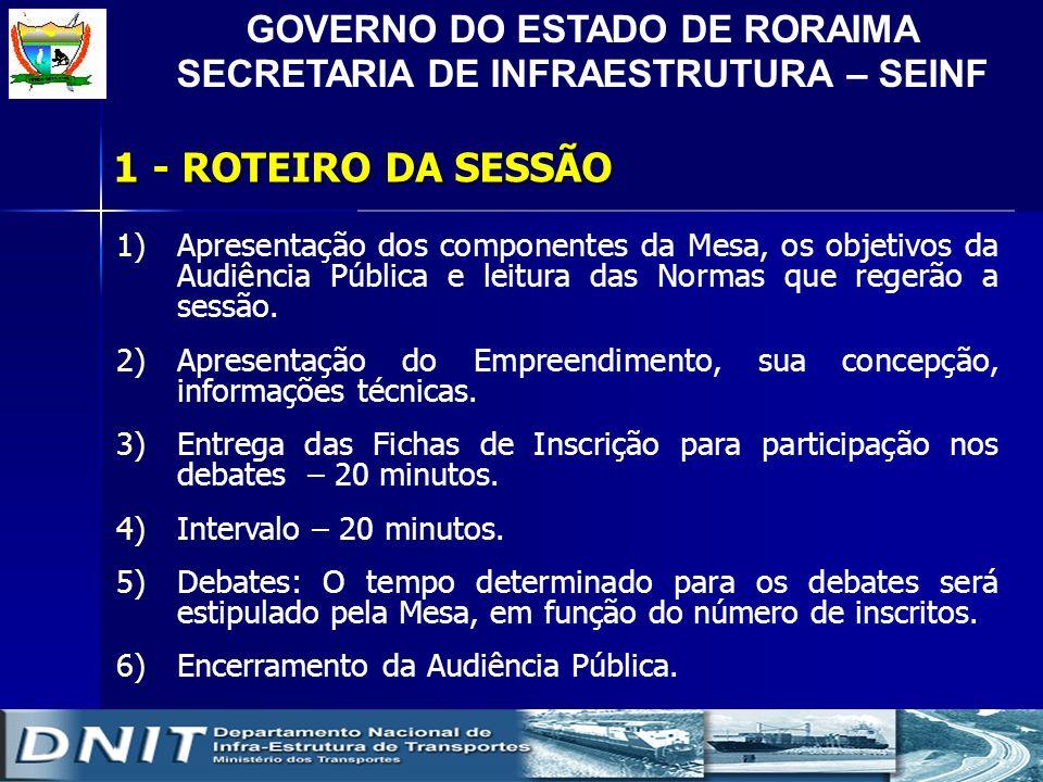 GOVERNO DO ESTADO DE RORAIMA SECRETARIA DE INFRAESTRUTURA – SEINF 1- ROTEIRO DA SESSÃO 1)Apresentação dos componentes da Mesa, os objetivos da Audiênc