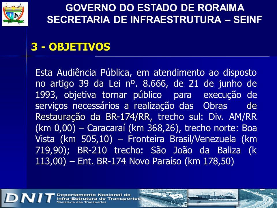 GOVERNO DO ESTADO DE RORAIMA SECRETARIA DE INFRAESTRUTURA – SEINF 5 3 - OBJETIVOS de Restauração da BR-174/RR, Esta Audiência Pública, em atendimento