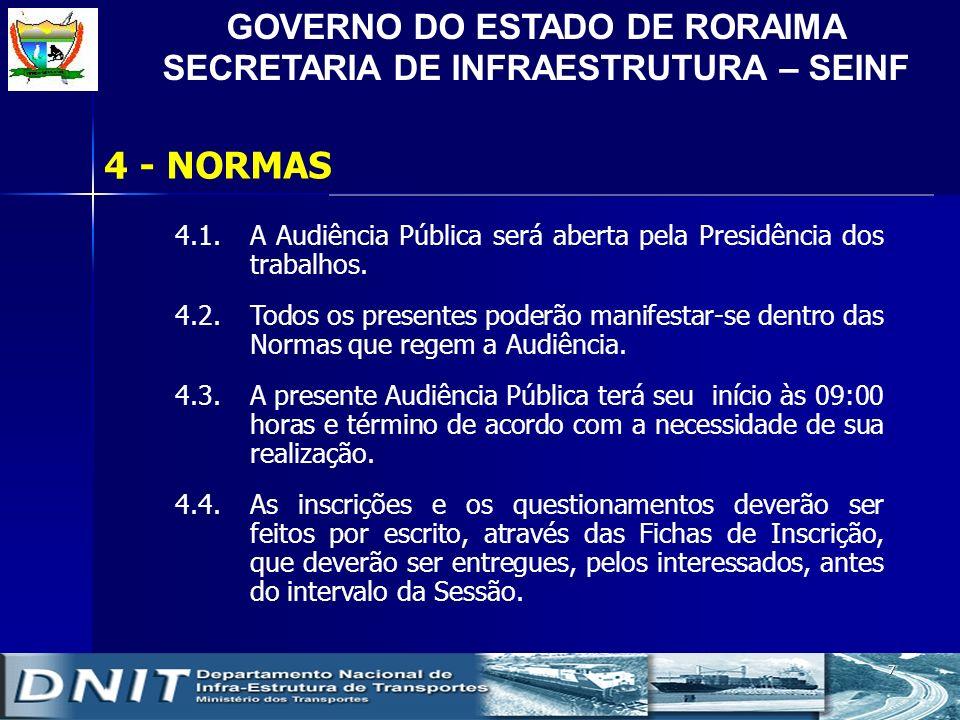 GOVERNO DO ESTADO DE RORAIMA SECRETARIA DE INFRAESTRUTURA – SEINF 7 4 - NORMAS 4.1.A Audiência Pública será aberta pela Presidência dos trabalhos. 4.2