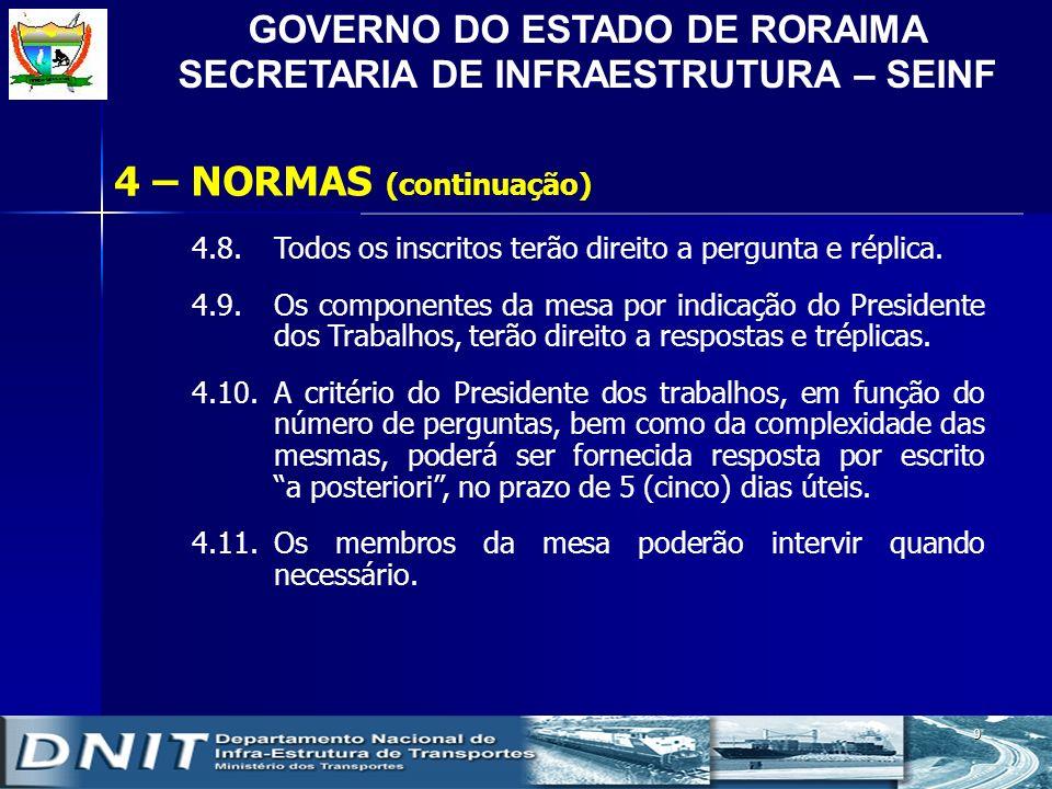 GOVERNO DO ESTADO DE RORAIMA SECRETARIA DE INFRAESTRUTURA – SEINF 9 4.8.Todos os inscritos terão direito a pergunta e réplica. 4.9.Os componentes da m