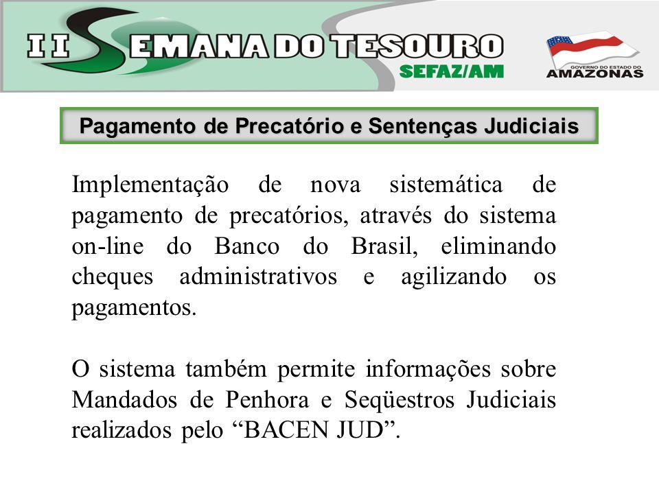 Pagamento de Precatório e Sentenças Judiciais Implementação de nova sistemática de pagamento de precatórios, através do sistema on-line do Banco do Br