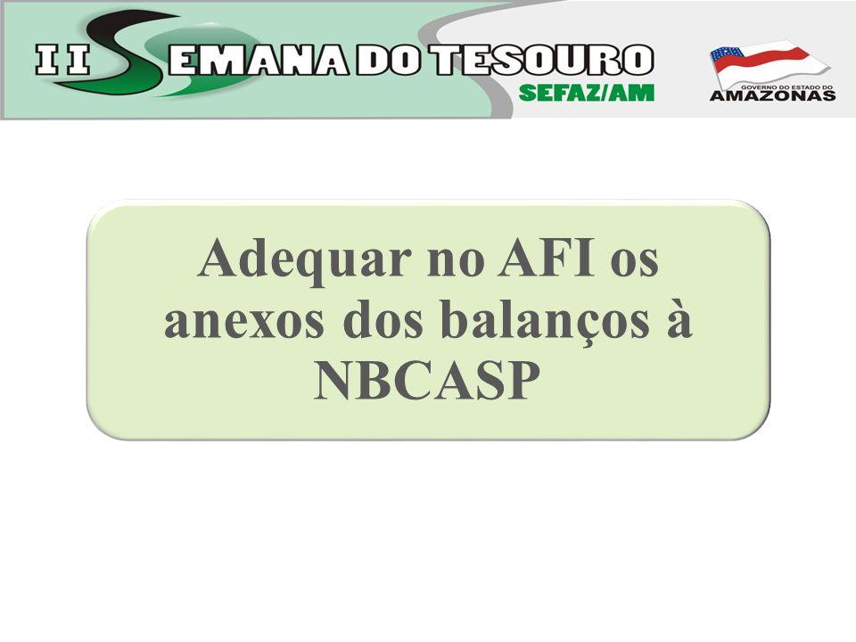 Adequar no AFI os anexos dos balanços à NBCASP