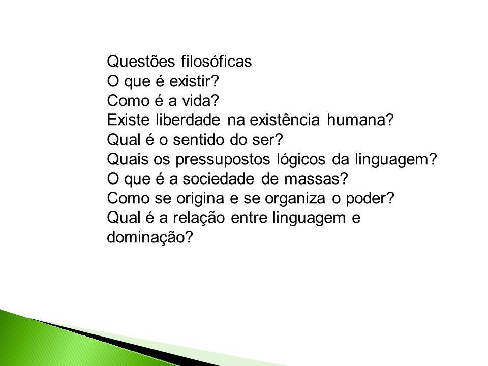 Questões filosóficas O que é existir? Como é a vida? Existe liberdade na existência humana? Qual é o sentido do ser? Quais os pressupostos lógicos da
