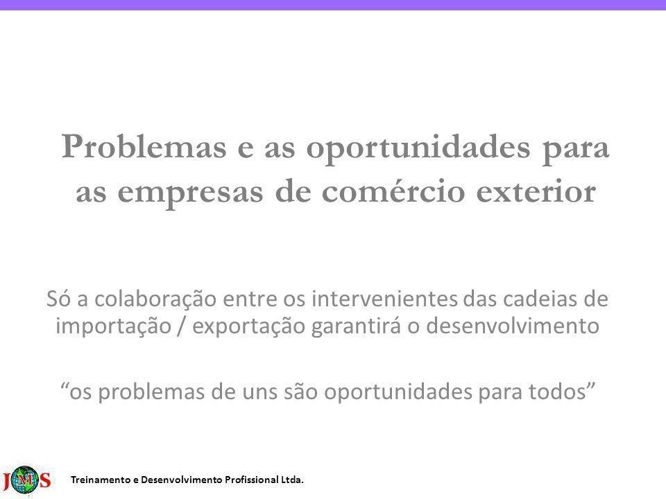 Treinamento e Desenvolvimento Profissional Ltda. Problemas e as oportunidades para as empresas de comércio exterior Só a colaboração entre os interven