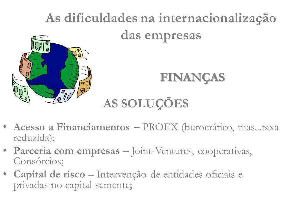 Acesso a Financiamentos – PROEX (burocrático, mas...taxa reduzida); Parceria com empresas – Joint-Ventures, cooperativas, Consórcios; Capital de risco