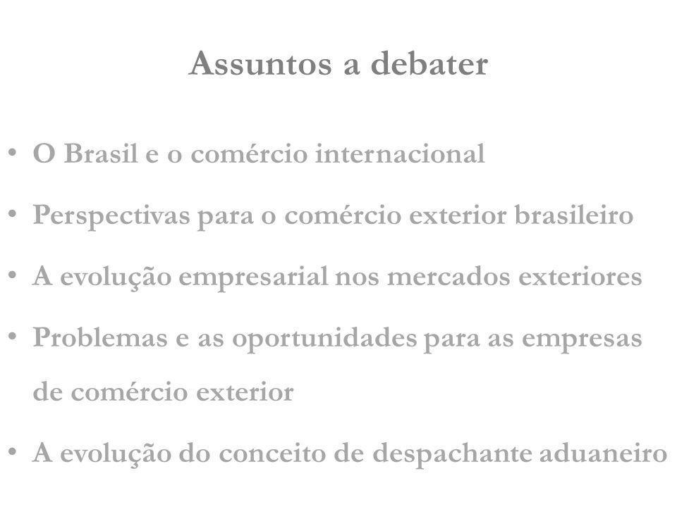 5ª POPULAÇÃO MUNDIAL 10° PIB MUNDIAL* 22° EXPORTADOR* (US$ 197,9 bi) 27° IMPORTADOR* (US$ 183,1 bi) Participação exportações mundiais 1,25% Participação importações mundiais 1,15% Participação na Corrente de Comércio mundial – 1,18% O Brasil e o comércio internacional Em 2008 *CIA World Factbook, 2009 Fonte: Organização Mundial do Comércio – OMC (2008)