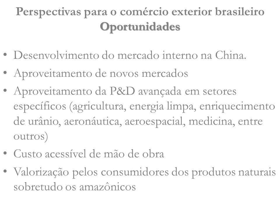 Desenvolvimento do mercado interno na China. Aproveitamento de novos mercados Aproveitamento da P&D avançada em setores específicos (agricultura, ener