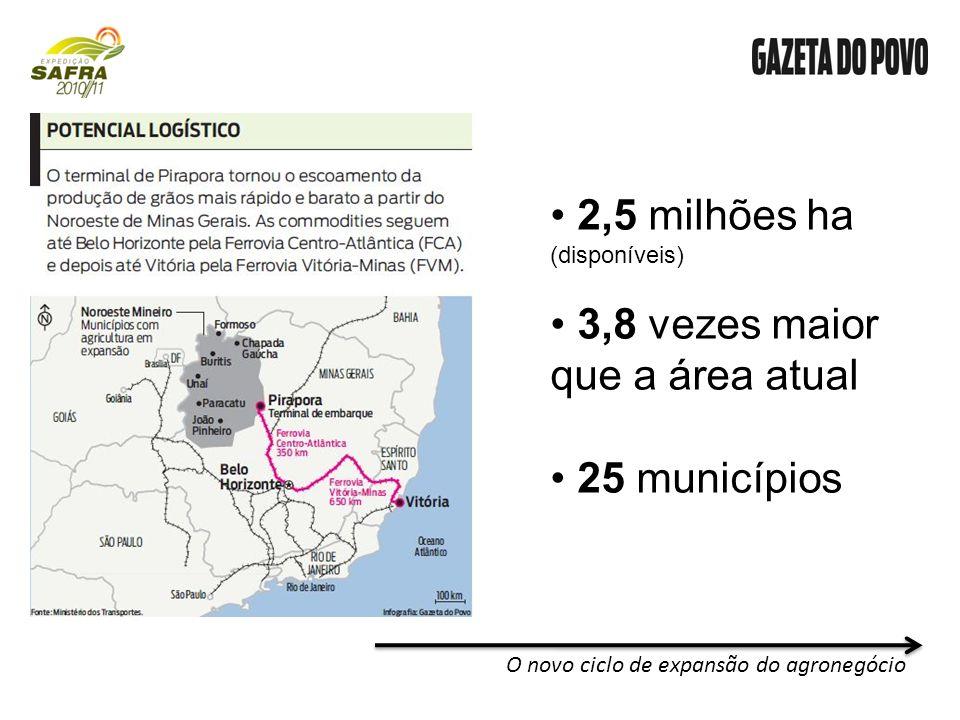 2,5 milhões ha (disponíveis) 3,8 vezes maior que a área atual 25 municípios