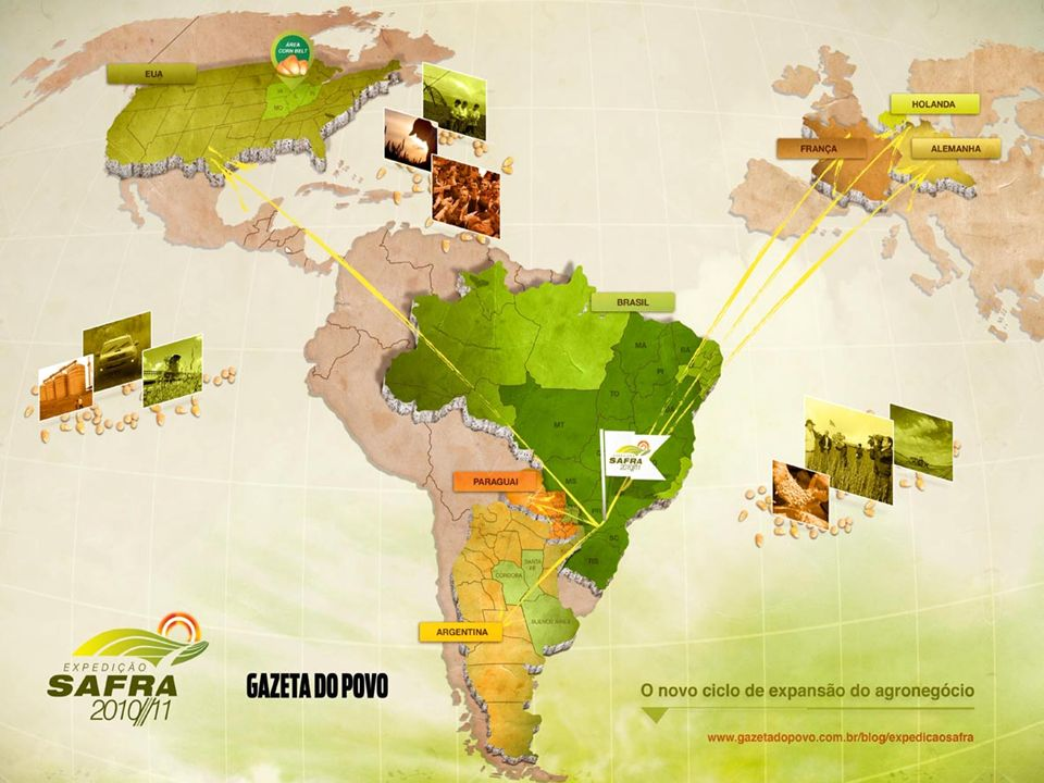 LINHA DO TEMPO 2006/07 - PR / MT 2007/08 - SUL / CENTRO-OESTE /SUDESTE 2008/09 - 12 estados + EUA 2009/10 -América do Sul / América do Norte 2010/11 - América do Sul / América do Norte / Europa O novo ciclo de expansão do agronegócio