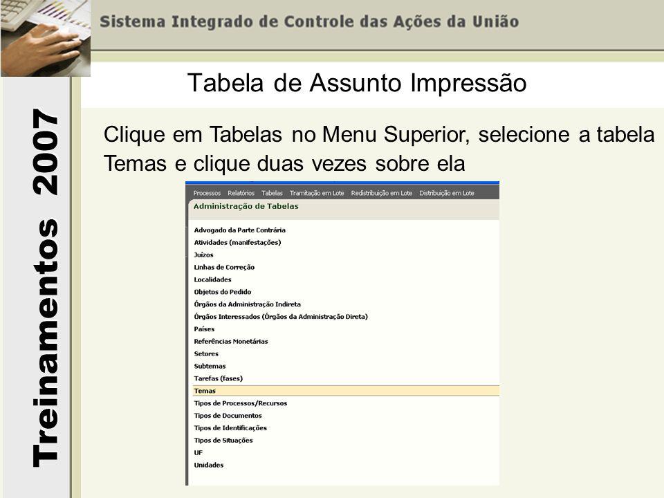 Treinamentos 2007 Clique em Tabelas no Menu Superior, selecione a tabela Temas e clique duas vezes sobre ela Tabela de Assunto Impressão