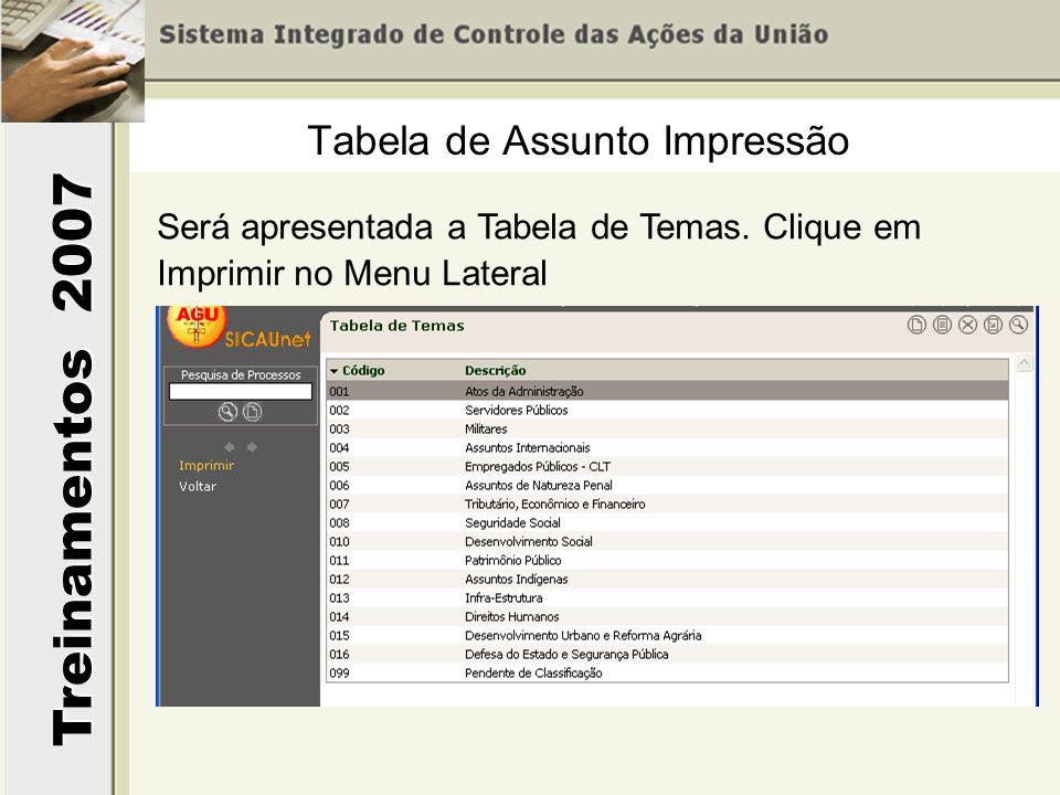 Treinamentos 2007 Será apresentada a Tabela de Temas. Clique em Imprimir no Menu Lateral Tabela de Assunto Impressão