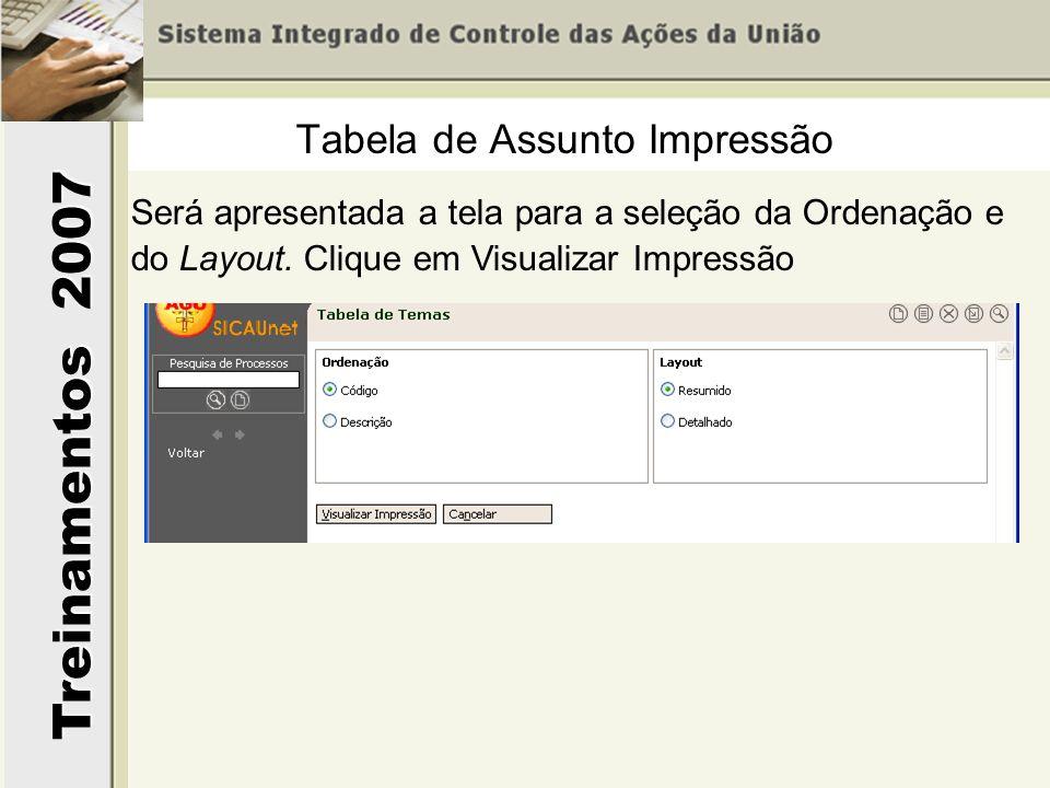 Treinamentos 2007 Será apresentada a tela para a seleção da Ordenação e do Layout. Clique em Visualizar Impressão Tabela de Assunto Impressão
