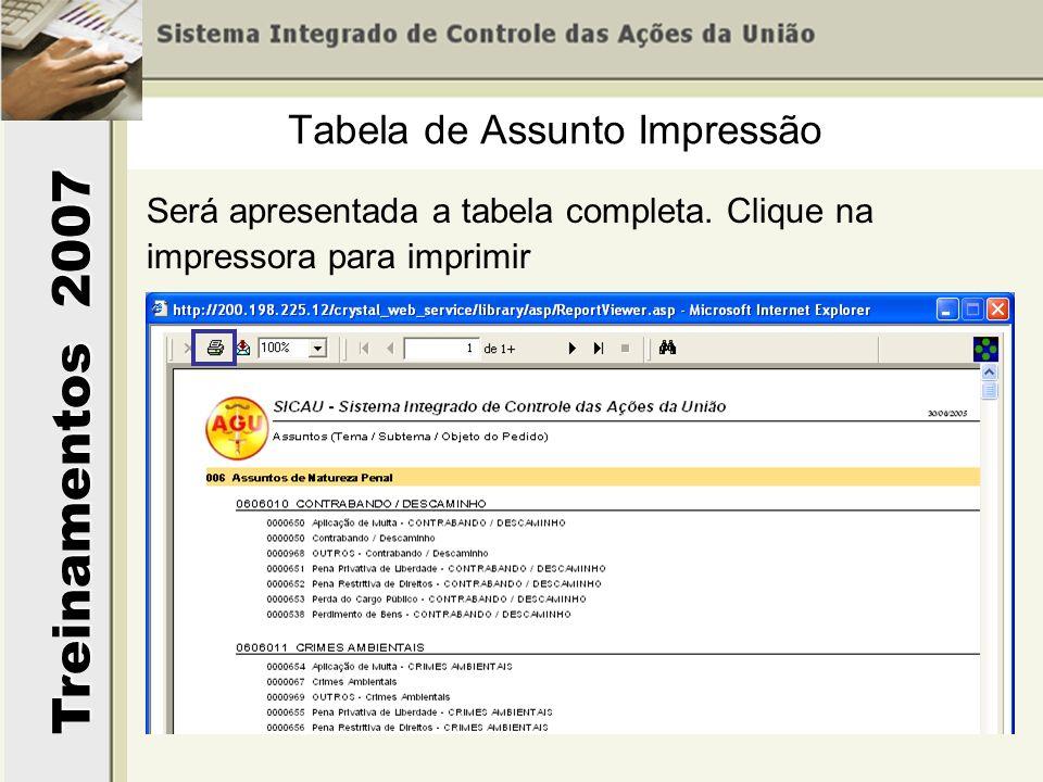 Treinamentos 2007 Será apresentada a tabela completa. Clique na impressora para imprimir Tabela de Assunto Impressão