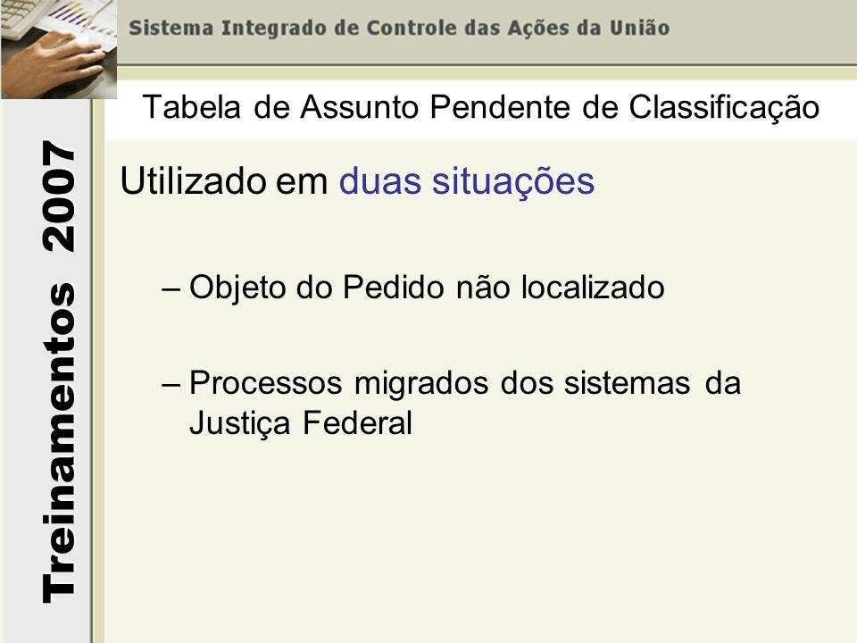 Treinamentos 2007 Utilizado em duas situações –Objeto do Pedido não localizado –Processos migrados dos sistemas da Justiça Federal Tabela de Assunto Pendente de Classificação