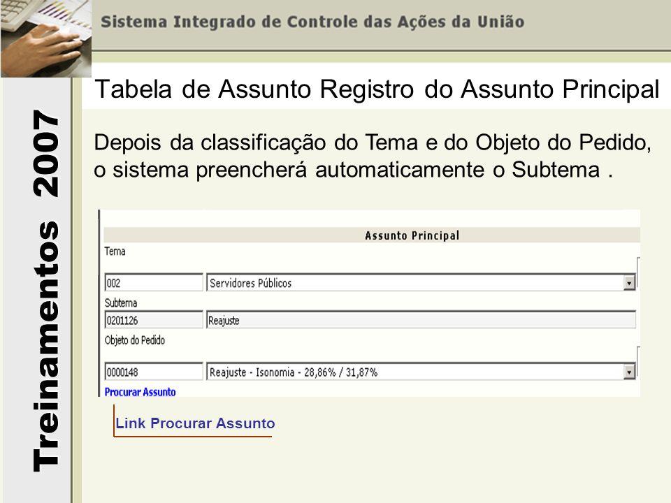 Treinamentos 2007 Depois da classificação do Tema e do Objeto do Pedido, o sistema preencherá automaticamente o Subtema. Tabela de Assunto Registro do