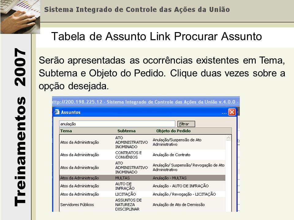Treinamentos 2007 Serão apresentadas as ocorrências existentes em Tema, Subtema e Objeto do Pedido. Clique duas vezes sobre a opção desejada. Tabela d