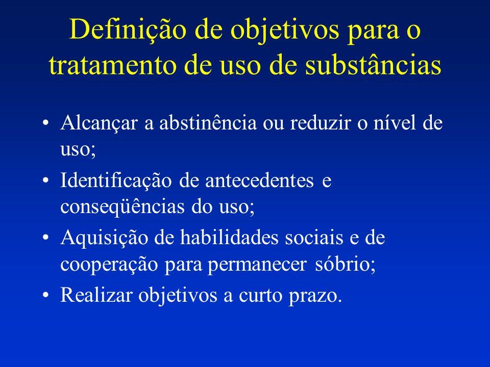 Definição de objetivos para o tratamento de uso de substâncias Alcançar a abstinência ou reduzir o nível de uso; Identificação de antecedentes e conse